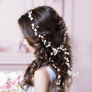 Flower Pearl Crystal Beaded Floral Vine Hair Drape
